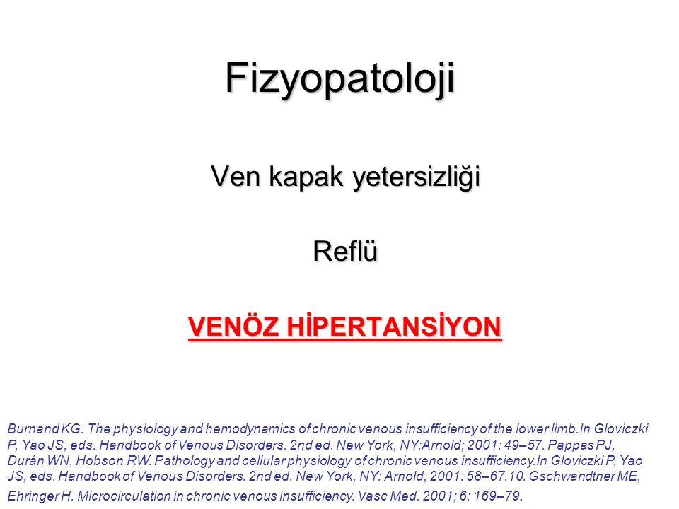 Fizyopatoloji Ven kapak yetersizliği Reflü VENÖZ HİPERTANSİYON Burnand KG. The physiology and hemodynamics of chronic venous insufficiency of the lowe