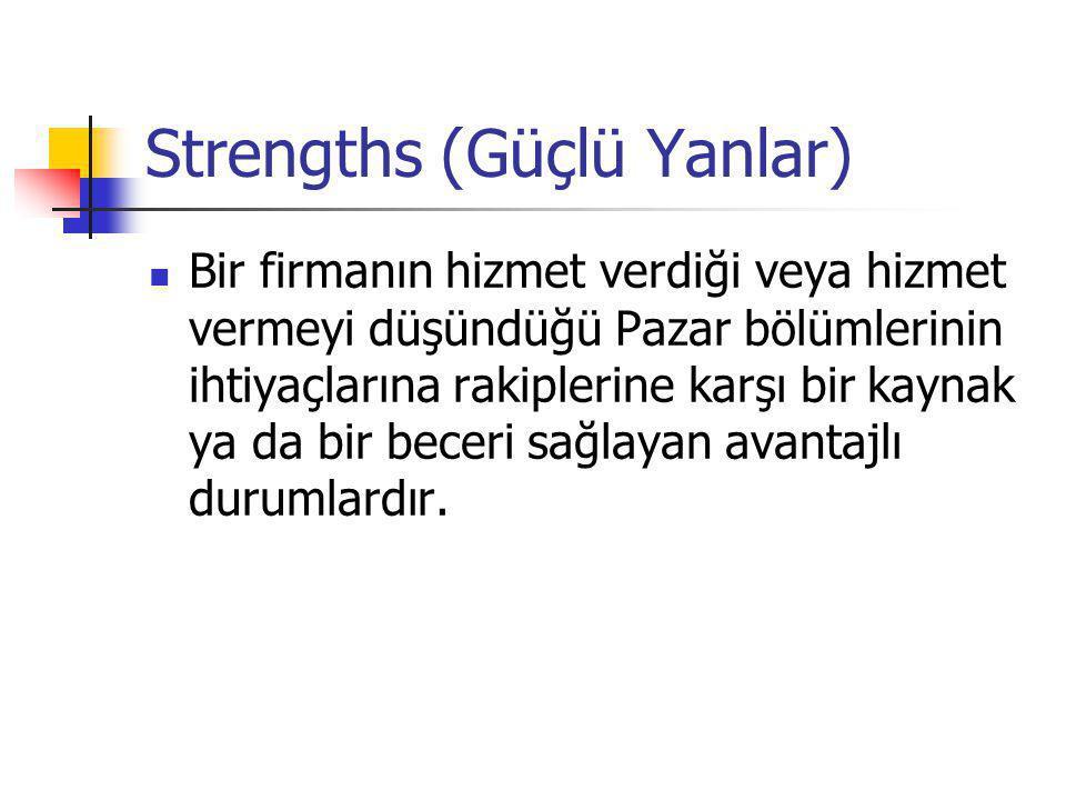 Strengths (Güçlü Yanlar)  Bir firmanın hizmet verdiği veya hizmet vermeyi düşündüğü Pazar bölümlerinin ihtiyaçlarına rakiplerine karşı bir kaynak ya