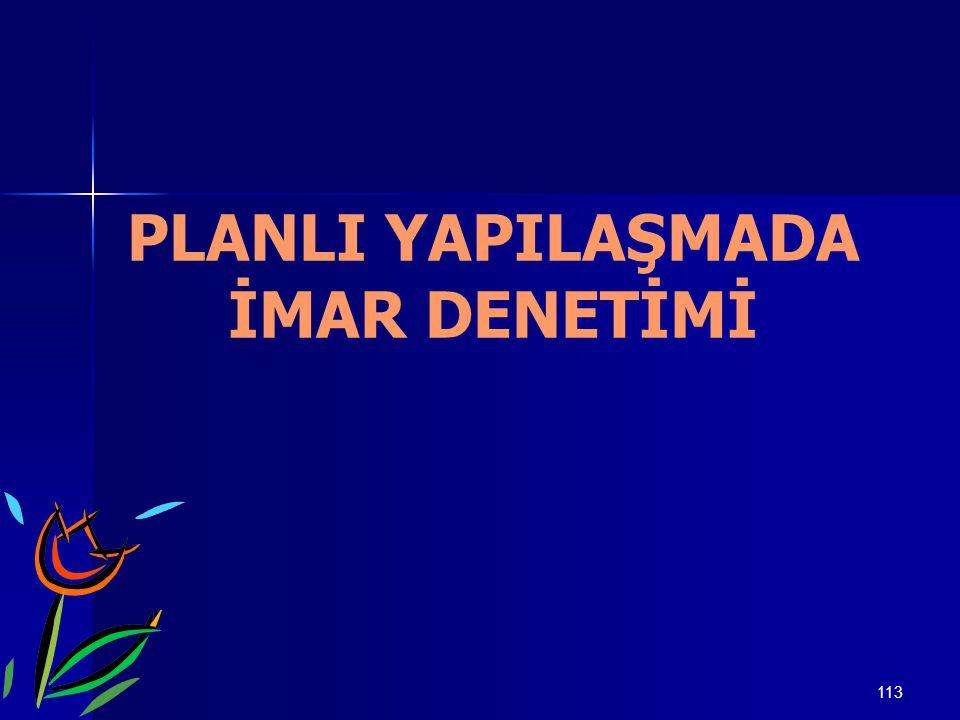 113 PLANLI YAPILAŞMADA İMAR DENETİMİ