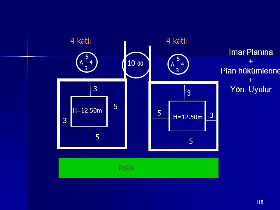 118 5 A 4 3 10 00 3 3 5 5 3 3 5 5 5 A 4 3 4 katlı PARK H=12.50m İmar Planına + Plan hükümlerine + Yön. Uyulur
