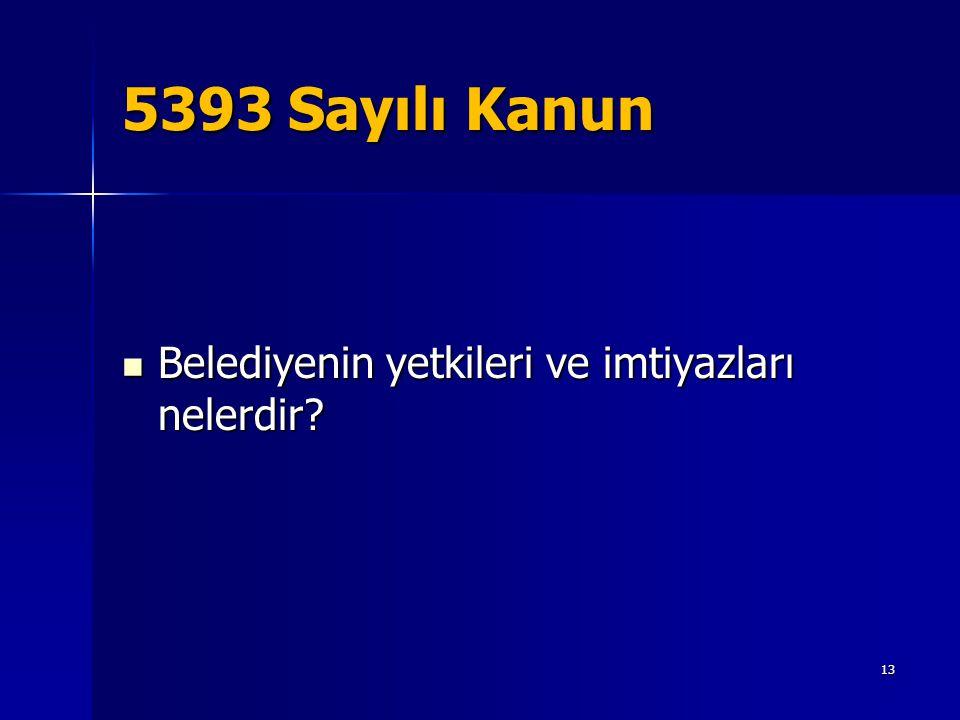 5393 Sayılı Kanun  Belediyenin yetkileri ve imtiyazları nelerdir? 13