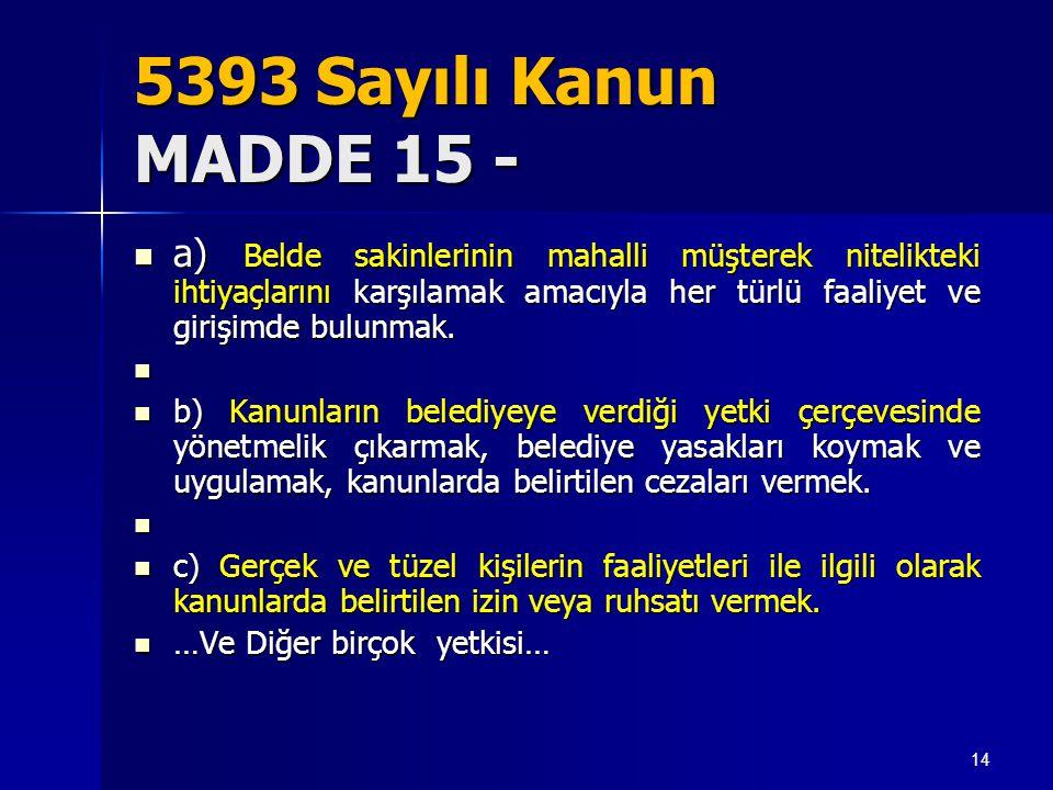 5393 Sayılı Kanun MADDE 15 -  a) Belde sakinlerinin mahalli müşterek nitelikteki ihtiyaçlarını karşılamak amacıyla her türlü faaliyet ve girişimde bu