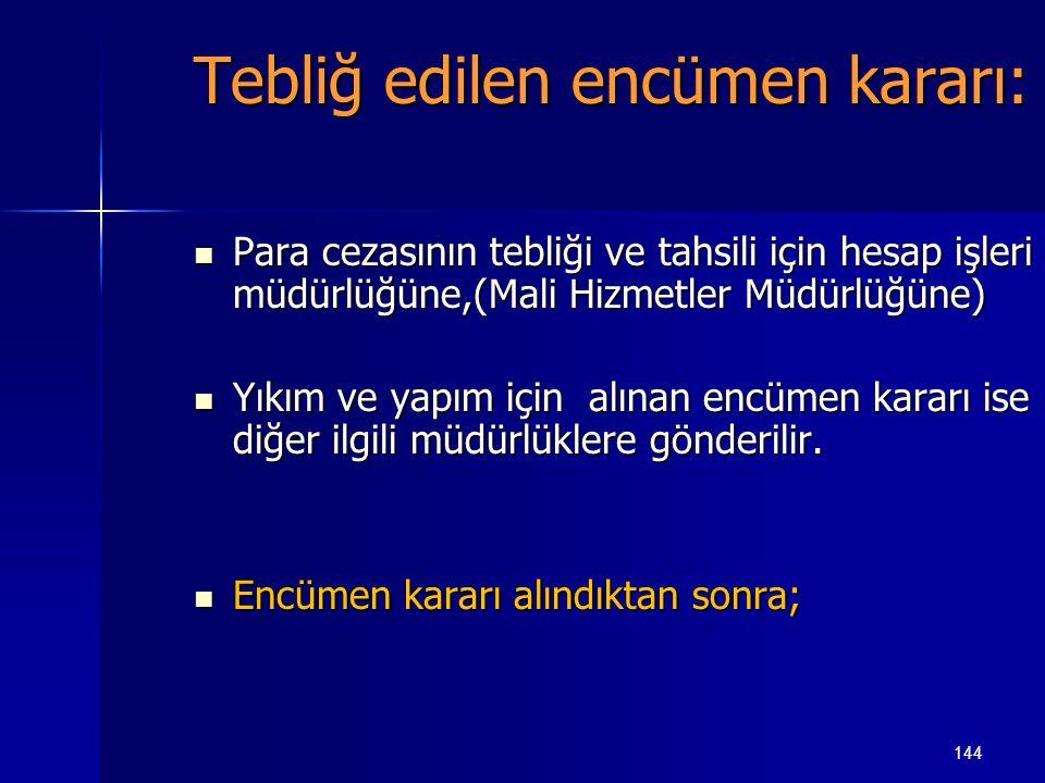 144 Tebliğ edilen encümen kararı:  Para cezasının tebliği ve tahsili için hesap işleri müdürlüğüne,(Mali Hizmetler Müdürlüğüne)  Yıkım ve yapım için