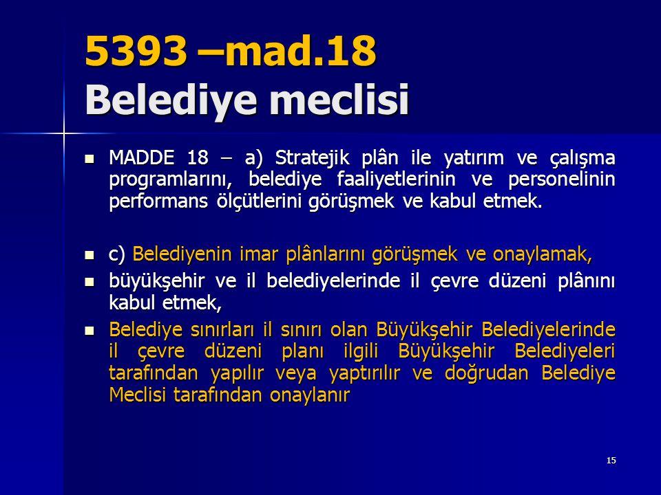 5393 –mad.18 Belediye meclisi  MADDE 18 – a) Stratejik plân ile yatırım ve çalışma programlarını, belediye faaliyetlerinin ve personelinin performans