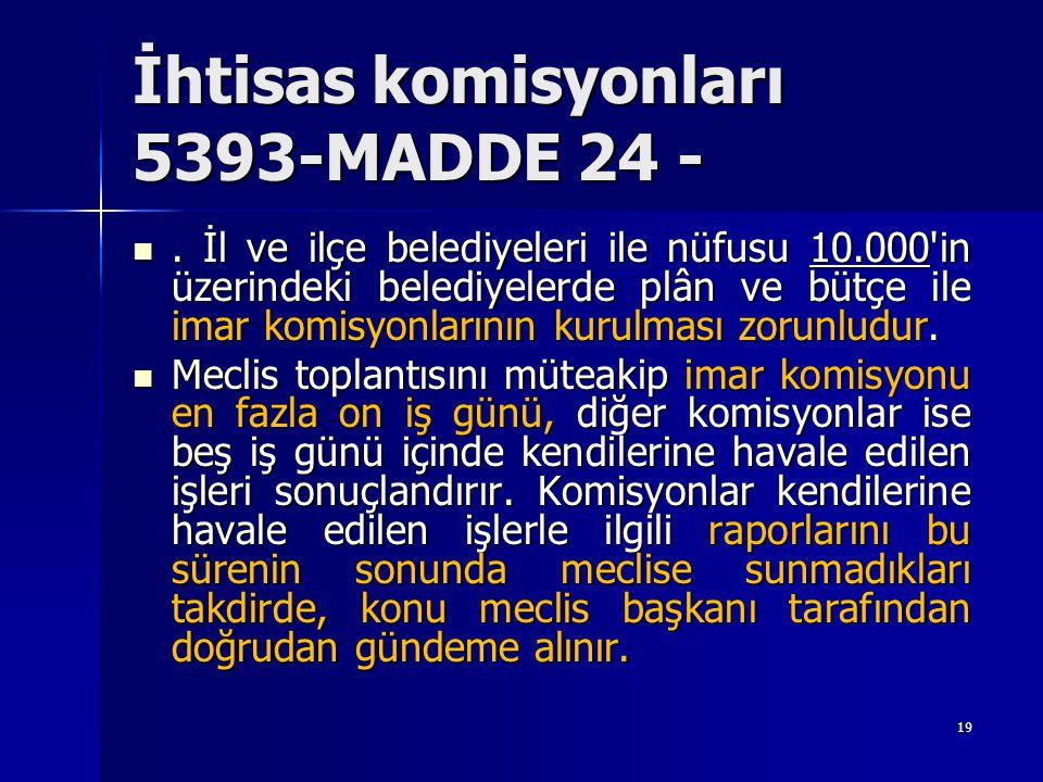 İhtisas komisyonları 5393-MADDE 24 - . İl ve ilçe belediyeleri ile nüfusu 10.000'in üzerindeki belediyelerde plân ve bütçe ile imar komisyonlarının k