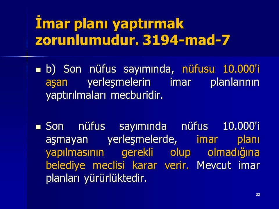 İmar planı yaptırmak zorunlumudur. 3194-mad-7  b) Son nüfus sayımında, nüfusu 10.000'i aşan yerleşmelerin imar planlarının yaptırılmaları mecburidir.