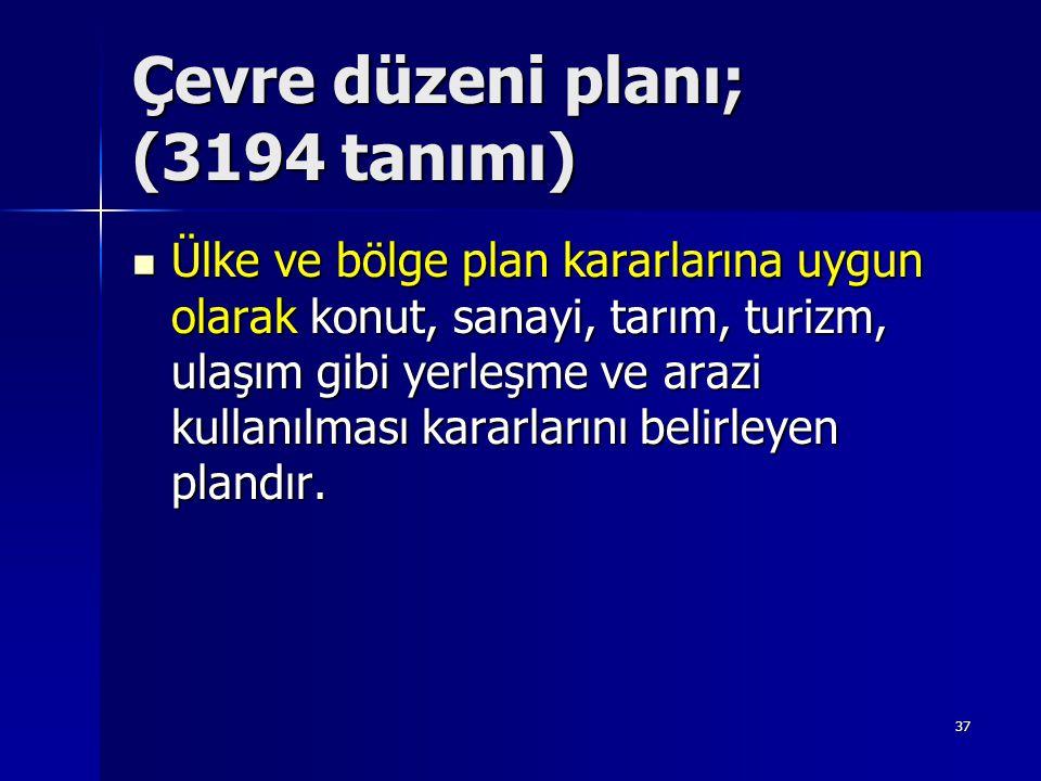 Çevre düzeni planı; (3194 tanımı)  Ülke ve bölge plan kararlarına uygun olarak konut, sanayi, tarım, turizm, ulaşım gibi yerleşme ve arazi kullanılma