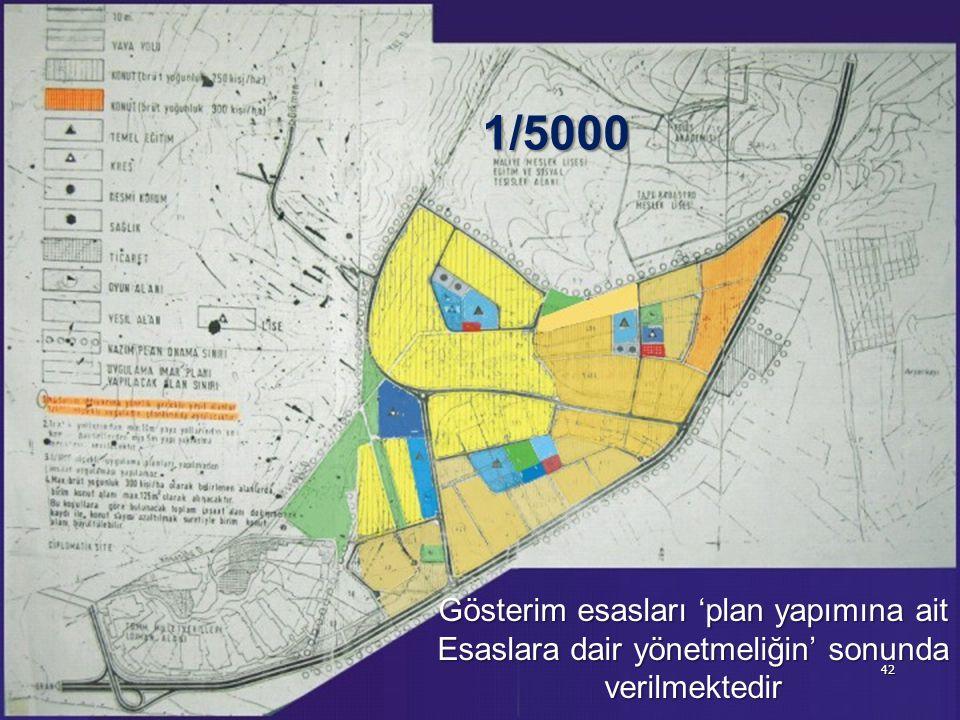 42 Gösterim esasları 'plan yapımına ait Esaslara dair yönetmeliğin' sonunda verilmektedir 1/5000