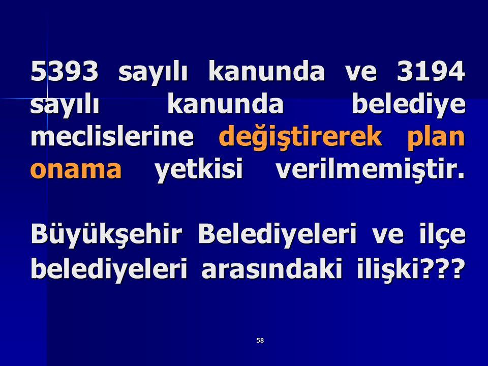58 5393 sayılı kanunda ve 3194 sayılı kanunda belediye meclislerine değiştirerek plan onama yetkisi verilmemiştir. Büyükşehir Belediyeleri ve ilçe bel