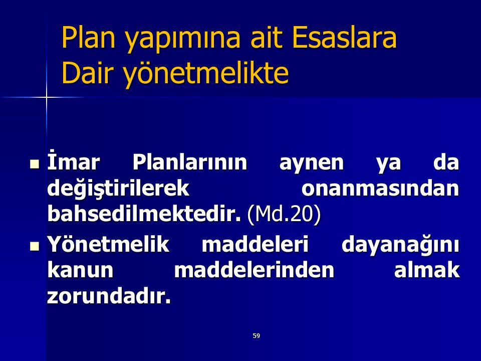 59 Plan yapımına ait Esaslara Dair yönetmelikte  İmar Planlarının aynen ya da değiştirilerek onanmasından bahsedilmektedir. (Md.20)  Yönetmelik madd