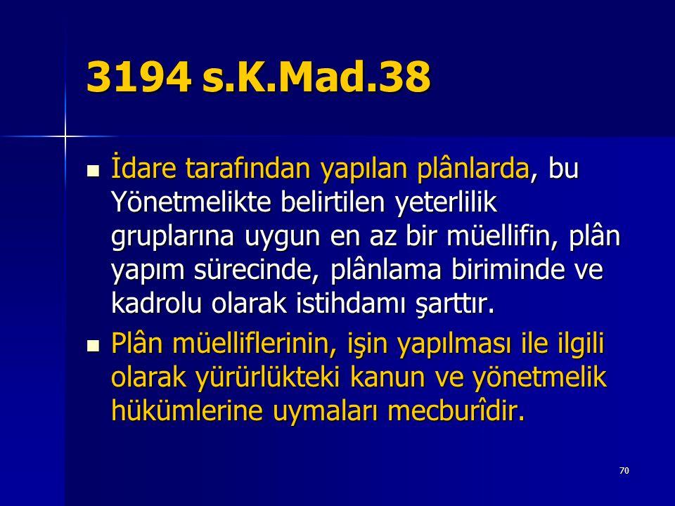 3194 s.K.Mad.38  İdare tarafından yapılan plânlarda, bu Yönetmelikte belirtilen yeterlilik gruplarına uygun en az bir müellifin, plân yapım sürecinde