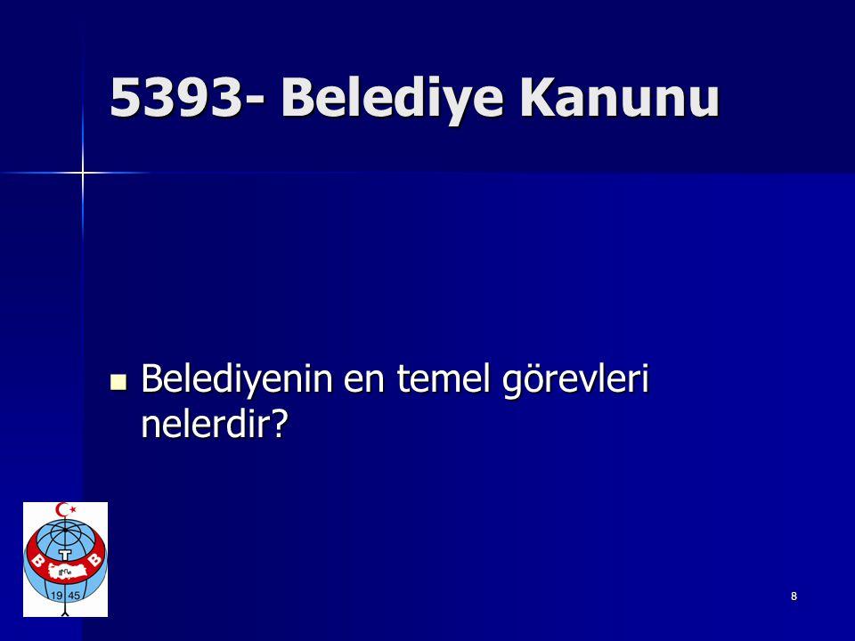  5393-Belediye Kanunu  MADDE 38 - Belediye başkanının görev ve yetkileri bazıları şunlardır:  a) Belediye teşkilâtının en üst amiri olarak belediye teşkilâtını sevk ve idare etmek, belediyenin hak ve menfaatlerini korumak.