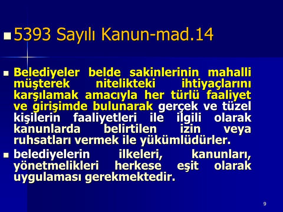 9  5393 Sayılı Kanun-mad.14  Belediyeler belde sakinlerinin mahalli müşterek nitelikteki ihtiyaçlarını karşılamak amacıyla her türlü faaliyet ve gir