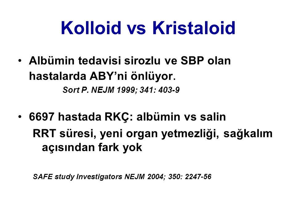 Kolloid vs Kristaloid •Albümin tedavisi sirozlu ve SBP olan hastalarda ABY'ni önlüyor. Sort P. NEJM 1999; 341: 403-9 •6697 hastada RKÇ: albümin vs sal