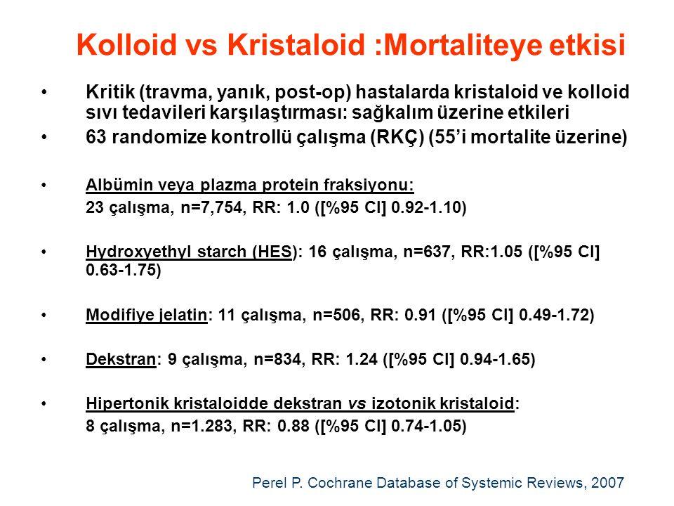 Kolloid vs Kristaloid :Mortaliteye etkisi •Kritik (travma, yanık, post-op) hastalarda kristaloid ve kolloid sıvı tedavileri karşılaştırması: sağkalım üzerine etkileri •63 randomize kontrollü çalışma (RKÇ) (55'i mortalite üzerine) •Albümin veya plazma protein fraksiyonu: 23 çalışma, n=7,754, RR: 1.0 ([%95 CI] 0.92-1.10) •Hydroxyethyl starch (HES): 16 çalışma, n=637, RR:1.05 ([%95 CI] 0.63-1.75) •Modifiye jelatin: 11 çalışma, n=506, RR: 0.91 ([%95 CI] 0.49-1.72) •Dekstran: 9 çalışma, n=834, RR: 1.24 ([%95 CI] 0.94-1.65) •Hipertonik kristaloidde dekstran vs izotonik kristaloid: 8 çalışma, n=1.283, RR: 0.88 ([%95 CI] 0.74-1.05) Perel P.