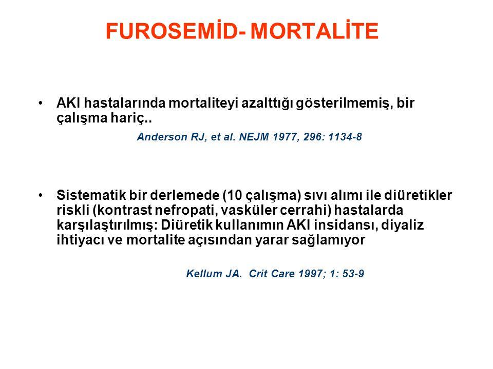 FUROSEMİD- MORTALİTE •AKI hastalarında mortaliteyi azalttığı gösterilmemiş, bir çalışma hariç.. Anderson RJ, et al. NEJM 1977, 296: 1134-8 •Sistematik