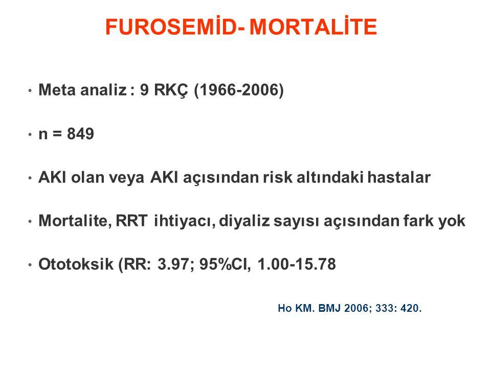 • Meta analiz : 9 RKÇ (1966-2006) • n = 849 • AKI olan veya AKI açısından risk altındaki hastalar • Mortalite, RRT ihtiyacı, diyaliz sayısı açısından fark yok • Ototoksik (RR: 3.97; 95%CI, 1.00-15.78 FUROSEMİD- MORTALİTE Ho KM.