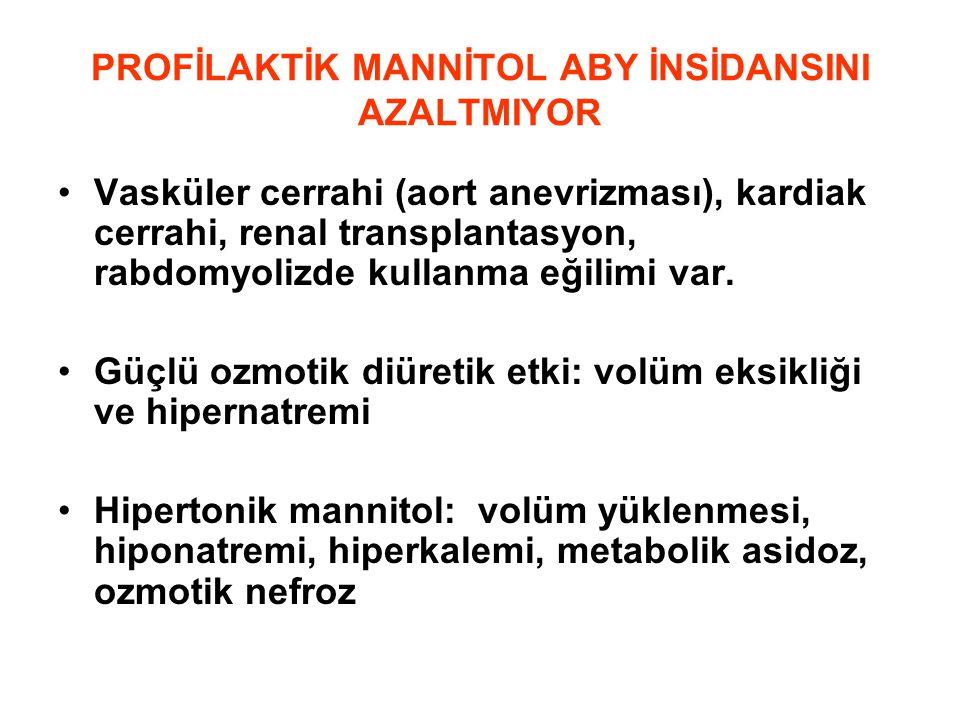 PROFİLAKTİK MANNİTOL ABY İNSİDANSINI AZALTMIYOR •Vasküler cerrahi (aort anevrizması), kardiak cerrahi, renal transplantasyon, rabdomyolizde kullanma e