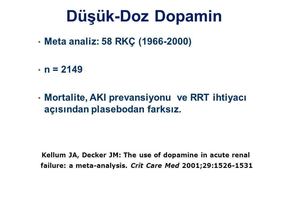 Düşük-Doz Dopamin • Meta analiz: 58 RKÇ (1966-2000) • n = 2149 • Mortalite, AKI prevansiyonu ve RRT ihtiyacı açısından plasebodan farksız. Kellum JA,