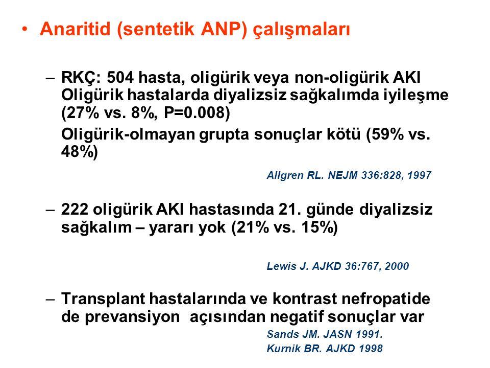 •Anaritid (sentetik ANP) çalışmaları –RKÇ: 504 hasta, oligürik veya non-oligürik AKI Oligürik hastalarda diyalizsiz sağkalımda iyileşme (27% vs. 8%, P