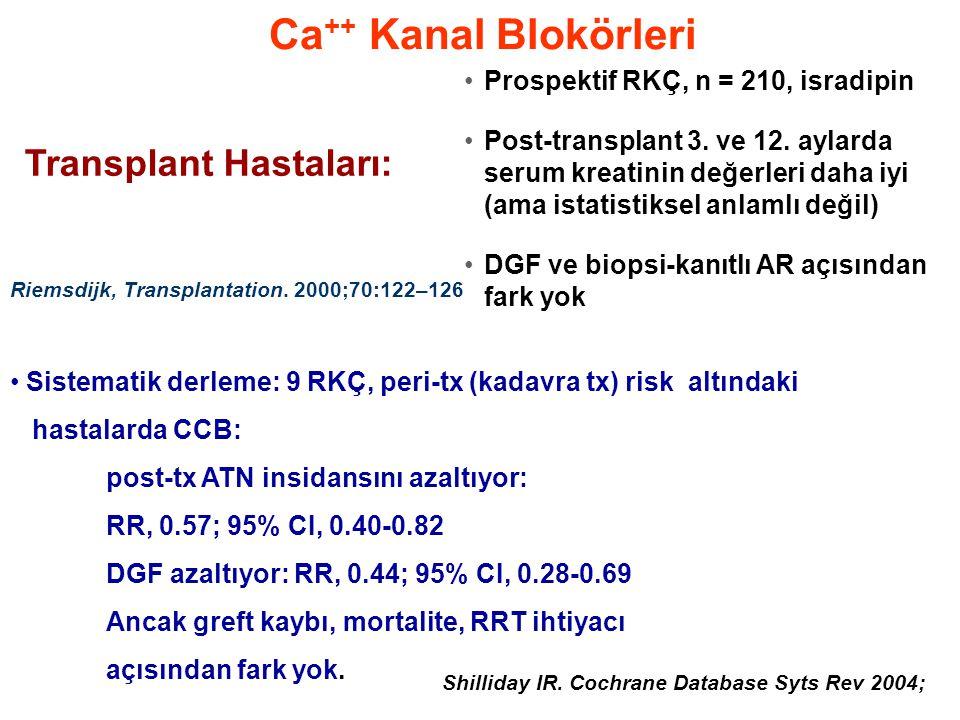 Ca ++ Kanal Blokörleri •Prospektif RKÇ, n = 210, isradipin •Post-transplant 3. ve 12. aylarda serum kreatinin değerleri daha iyi (ama istatistiksel an