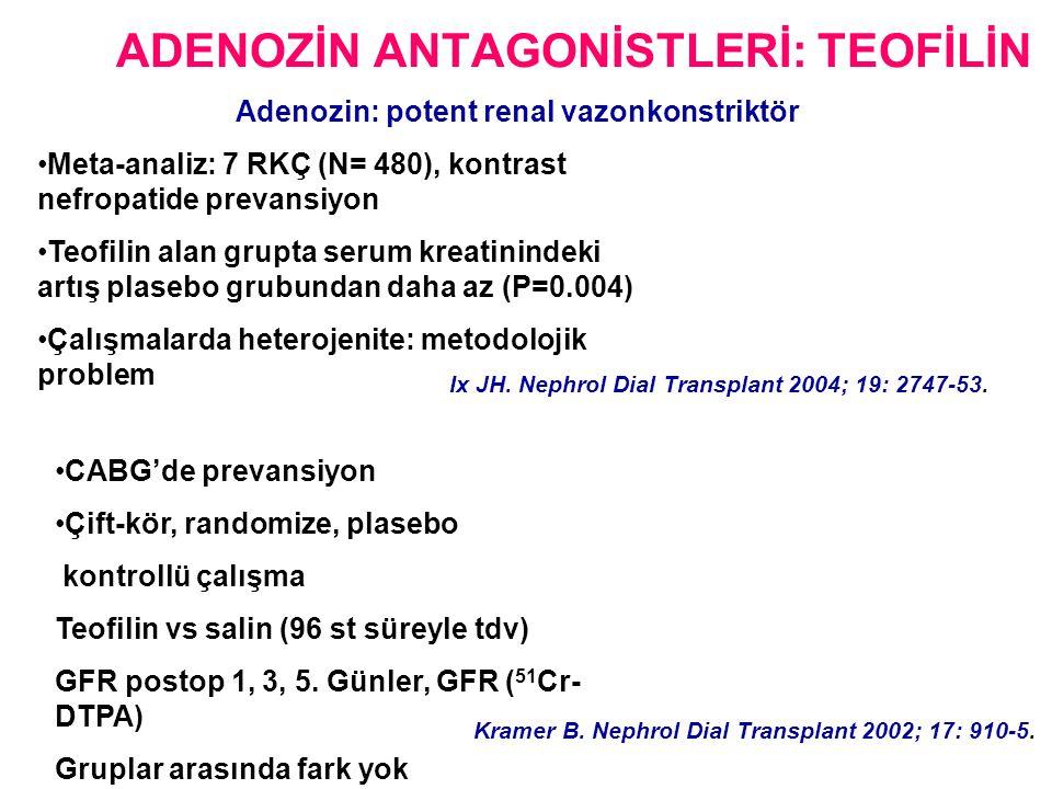 ADENOZİN ANTAGONİSTLERİ: TEOFİLİN •Meta-analiz: 7 RKÇ (N= 480), kontrast nefropatide prevansiyon •Teofilin alan grupta serum kreatinindeki artış plasebo grubundan daha az (P=0.004) •Çalışmalarda heterojenite: metodolojik problem Ix JH.