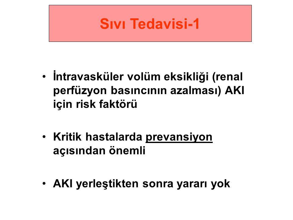 •İntravasküler volüm eksikliği (renal perfüzyon basıncının azalması) AKI için risk faktörü •Kritik hastalarda prevansiyon açısından önemli •AKI yerleştikten sonra yararı yok Sıvı Tedavisi-1