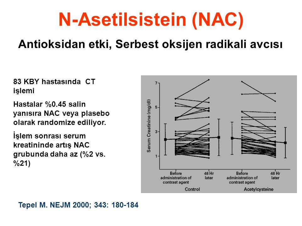 N-Asetilsistein (NAC) Antioksidan etki, Serbest oksijen radikali avcısı 83 KBY hastasında CT işlemi Hastalar %0.45 salin yanısıra NAC veya plasebo olarak randomize ediliyor.