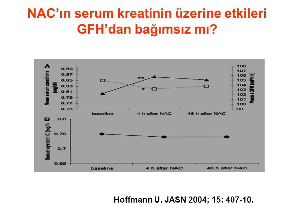 NAC'ın serum kreatinin üzerine etkileri GFH'dan bağımsız mı? Hoffmann U. JASN 2004; 15: 407-10.