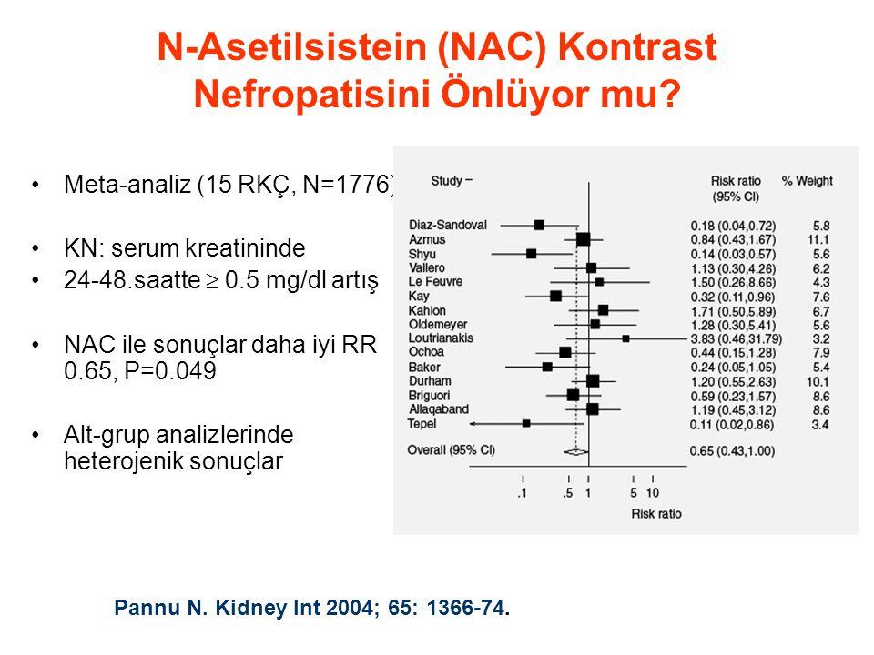 •Meta-analiz (15 RKÇ, N=1776) •KN: serum kreatininde •24-48.saatte  0.5 mg/dl artış •NAC ile sonuçlar daha iyi RR 0.65, P=0.049 •Alt-grup analizlerinde heterojenik sonuçlar N-Asetilsistein (NAC) Kontrast Nefropatisini Önlüyor mu.