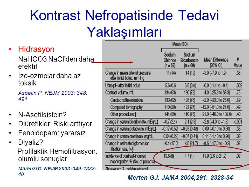 Kontrast Nefropatisinde Tedavi Yaklaşımları •Hidrasyon NaHCO3 NaCl'den daha efektif •İzo-ozmolar daha az toksik Aspelin P. NEJM 2003; 348: 491 •N-Aset
