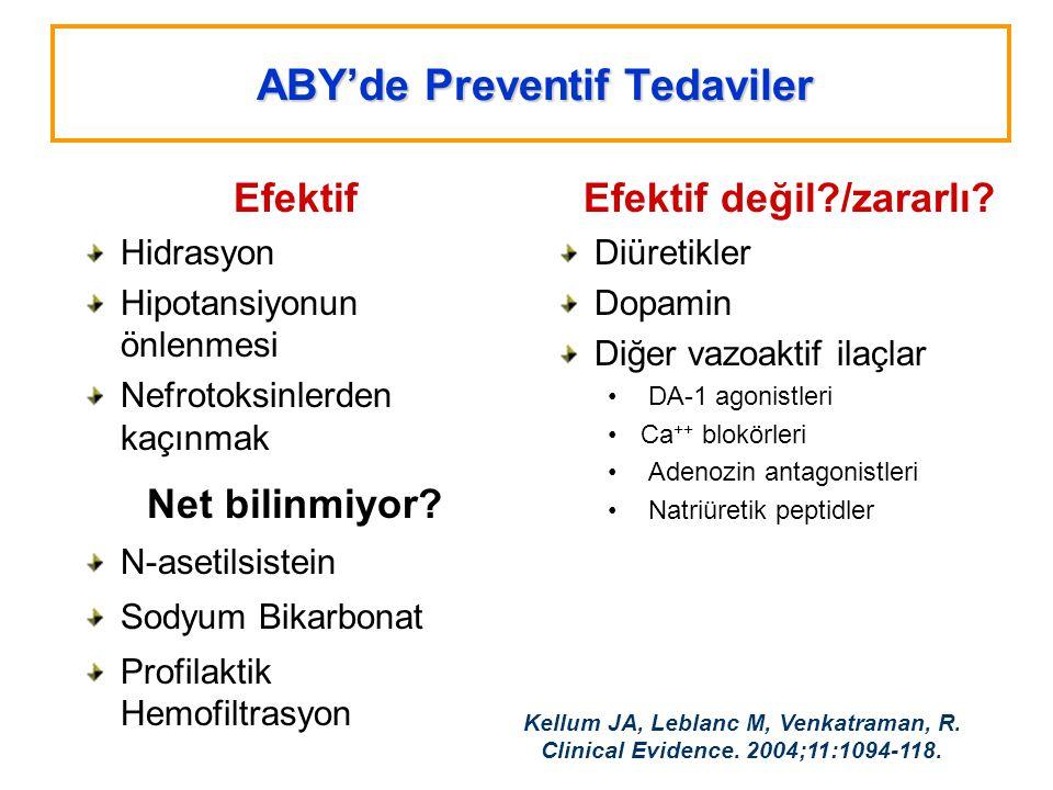 ABY'de Preventif Tedaviler Efektif Hidrasyon Hipotansiyonun önlenmesi Nefrotoksinlerden kaçınmak Net bilinmiyor? N-asetilsistein Sodyum Bikarbonat Pro