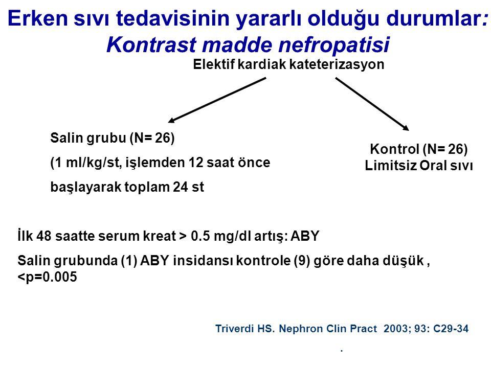 Erken sıvı tedavisinin yararlı olduğu durumlar: Kontrast madde nefropatisi Elektif kardiak kateterizasyon Salin grubu (N= 26) (1 ml/kg/st, işlemden 12 saat önce başlayarak toplam 24 st Triverdi HS.
