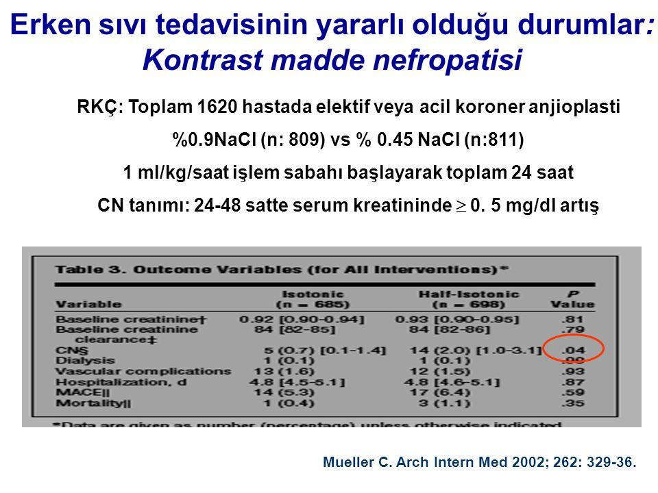 Erken sıvı tedavisinin yararlı olduğu durumlar: Kontrast madde nefropatisi RKÇ: Toplam 1620 hastada elektif veya acil koroner anjioplasti %0.9NaCl (n: 809) vs % 0.45 NaCl (n:811) 1 ml/kg/saat işlem sabahı başlayarak toplam 24 saat CN tanımı: 24-48 satte serum kreatininde  0.