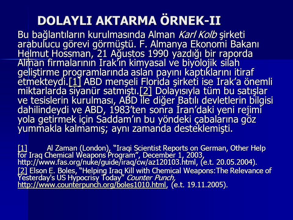 DOLAYLI AKTARMA ÖRNEK-II Bu bağlantıların kurulmasında Alman Karl Kolb şirketi arabulucu görevi görmüştü. F. Almanya Ekonomi Bakanı Helmut Hossman, 21