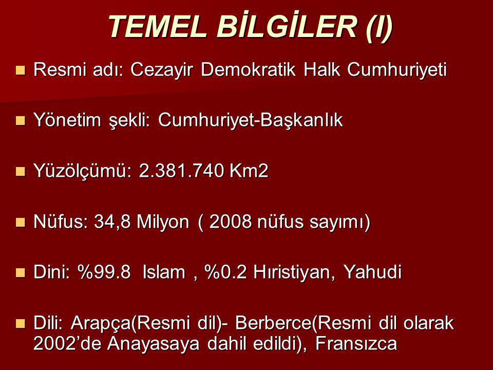 TEMEL BİLGİLER (I)  Resmi adı: Cezayir Demokratik Halk Cumhuriyeti  Yönetim şekli: Cumhuriyet-Başkanlık  Yüzölçümü: 2.381.740 Km2  Nüfus: 34,8 Mil