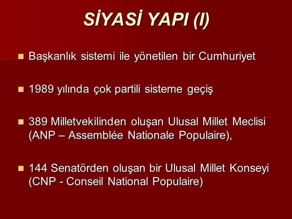 SİYASİ YAPI (I)  Başkanlık sistemi ile yönetilen bir Cumhuriyet  1989 yılında çok partili sisteme geçiş  389 Milletvekilinden oluşan Ulusal Millet