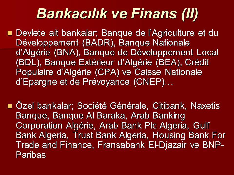 Bankacılık ve Finans (II)  Devlete ait bankalar; Banque de l'Agriculture et du Développement (BADR), Banque Nationale d'Algérie (BNA), Banque de Déve
