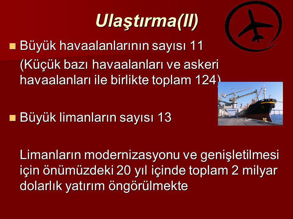 Ulaştırma(II)  Büyük havaalanlarının sayısı 11 (Küçük bazı havaalanları ve askeri havaalanları ile birlikte toplam 124)  Büyük limanların sayısı 13