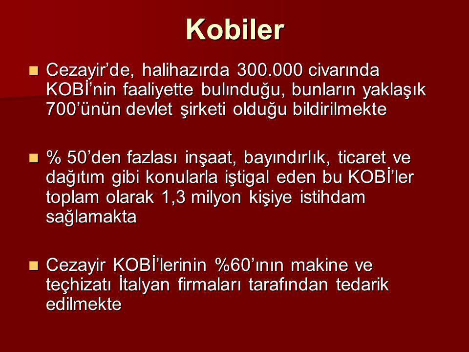 Kobiler  Cezayir'de, halihazırda 300.000 civarında KOBİ'nin faaliyette bulınduğu, bunların yaklaşık 700'ünün devlet şirketi olduğu bildirilmekte  %