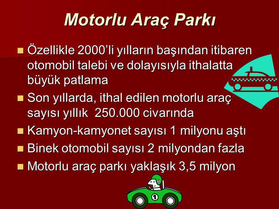Motorlu Araç Parkı  Özellikle 2000'li yılların başından itibaren otomobil talebi ve dolayısıyla ithalatta büyük patlama  Son yıllarda, ithal edilen