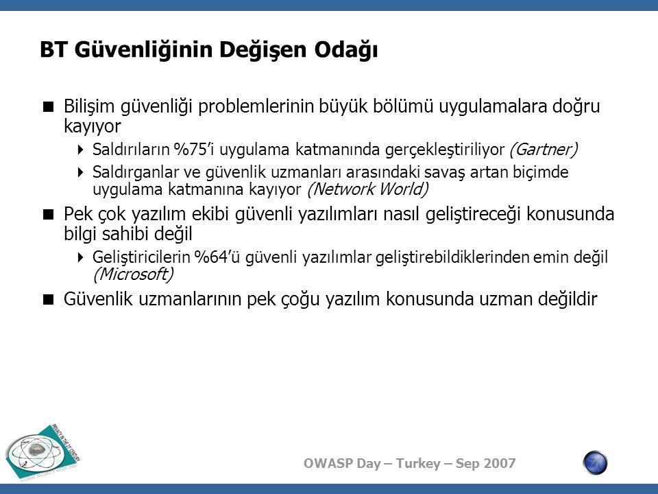 OWASP Day – Turkey – Sep 2007 Gerçekleştirime Özel Konular  Beklenmediğe hazır ol, çalışması gereken tek bir satır bile çalışmayabilir  Saldırganın hedefi  yazılımın akışını değiştirmek  yetkilerini yükselterek yetkisiz işlem yapmak  yazılımı çalışmaz hale getirmek ya da bunların bir bileşkesidir  Hiç olmadık bir anda programcının tüm varsayımları geçersiz hale gelebilir  Varsayımlar yok, anormal durumlara devamlı hazırlık zorunluluğu var