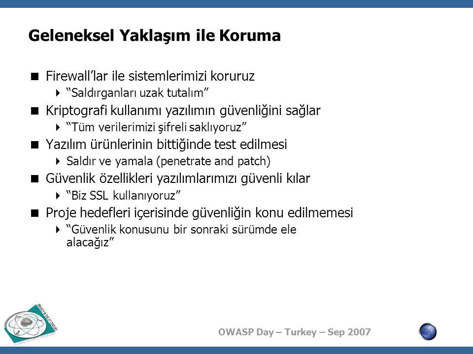 OWASP Day – Turkey – Sep 2007 Girdilerin Sınanması: Neden.