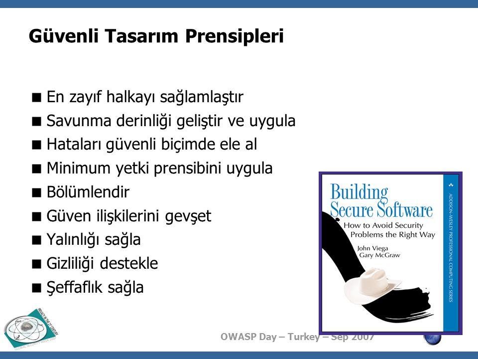 OWASP Day – Turkey – Sep 2007 Güvenlik Tasarım Kalıpları  Bir güvenlik kalıbı, tekrarlanan bir bilişim güvenliği problemi için üretilmiş çözüm şablonudur  Yeniden kullanılabilir  Özelleştirilebilir  Deneyim ve birikim ile süzülmüş  Potansiyel problemleri ile birlikte  Programlama dilinden, ortamından bağımsız  Tasarım kalıbı  Yazılım tasarım kalıbı  Kalıp kitaplıkları  http://www.securitypatterns.com http://www.securitypatterns.com  http://www.cgisecurity.com/lib/securityDesignPatterns.pdf http://www.cgisecurity.com/lib/securityDesignPatterns.pdf