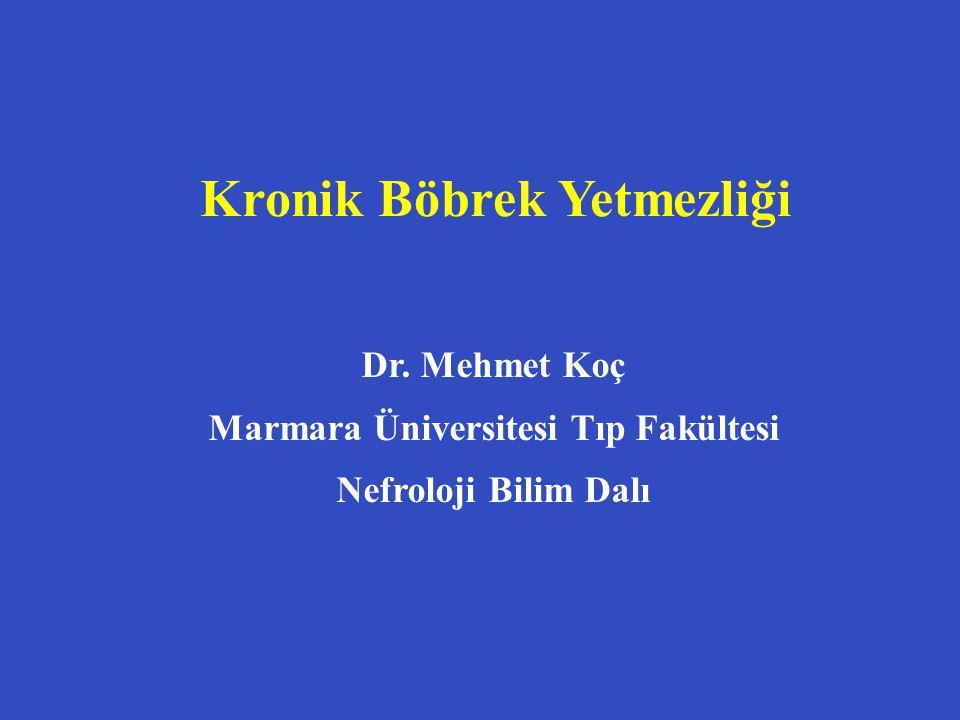 Kronik Böbrek Yetmezliği Dr. Mehmet Koç Marmara Üniversitesi Tıp Fakültesi Nefroloji Bilim Dalı