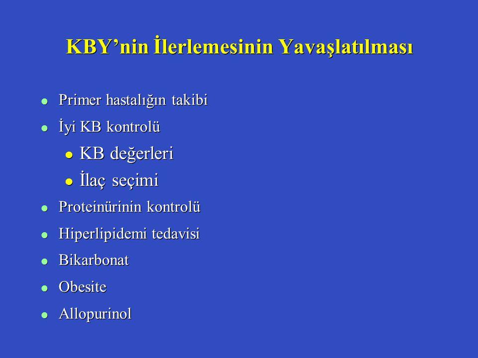 KBY'nin İlerlemesinin Yavaşlatılması l Primer hastalığın takibi l İyi KB kontrolü l KB değerleri l İlaç seçimi l Proteinürinin kontrolü l Hiperlipidem