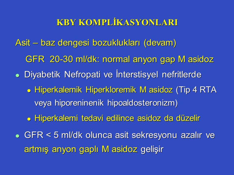 KBY KOMPLİKASYONLARI Asit – baz dengesi bozuklukları (devam) GFR 20-30 ml/dk: normal anyon gap M asidoz l Diyabetik Nefropati ve İnterstisyel nefritle