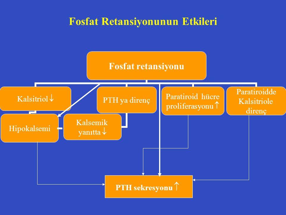 Fosfat Retansiyonunun Etkileri PTH sekresyonu 