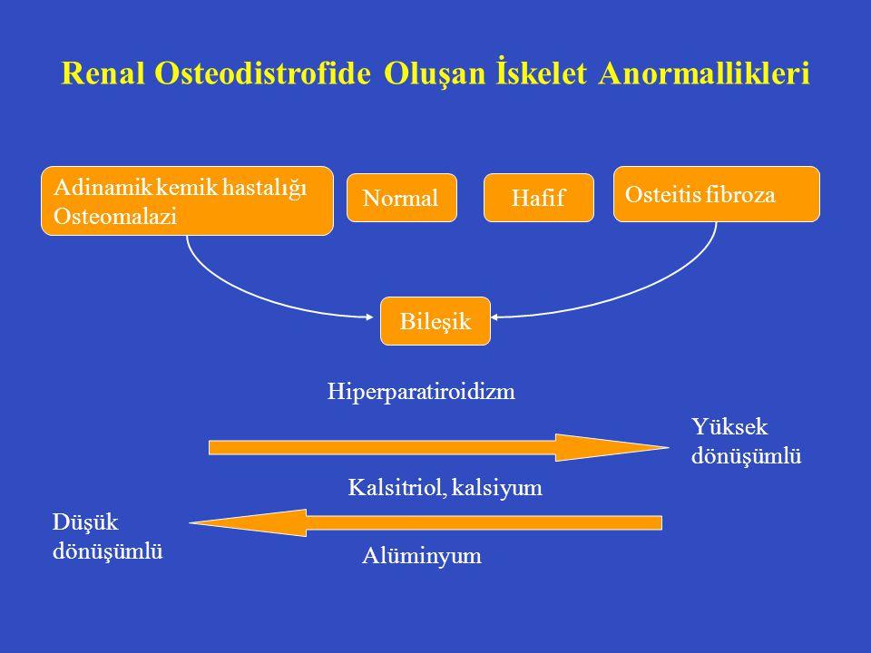 Renal Osteodistrofide Oluşan İskelet Anormallikleri Yüksek dönüşümlü Düşük dönüşümlü Adinamik kemik hastalığı Osteomalazi NormalHafif Osteitis fibroza
