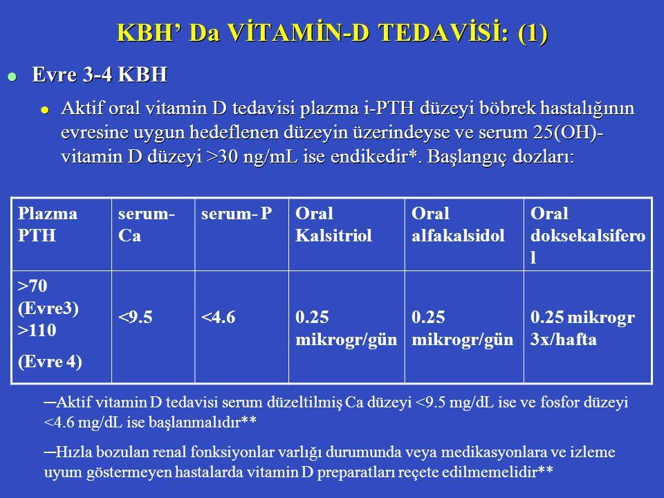 KBH' Da VİTAMİN-D TEDAVİSİ: (1) l Evre 3-4 KBH l Aktif oral vitamin D tedavisi plazma i-PTH düzeyi böbrek hastalığının evresine uygun hedeflenen düzey